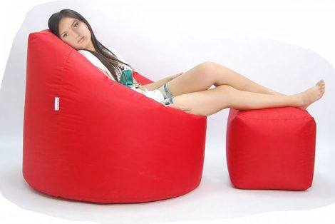 Grande XXXL sedací vak + Darček  puff (červený)