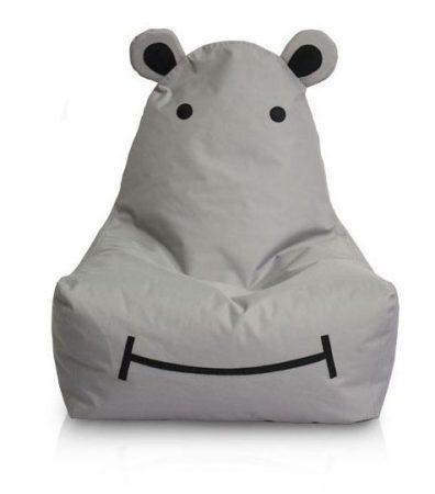 Detský sedací vak HIPPO hrošík (sivý)
