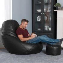 Gamer XXL fotel z textilnej kože + Darček puff