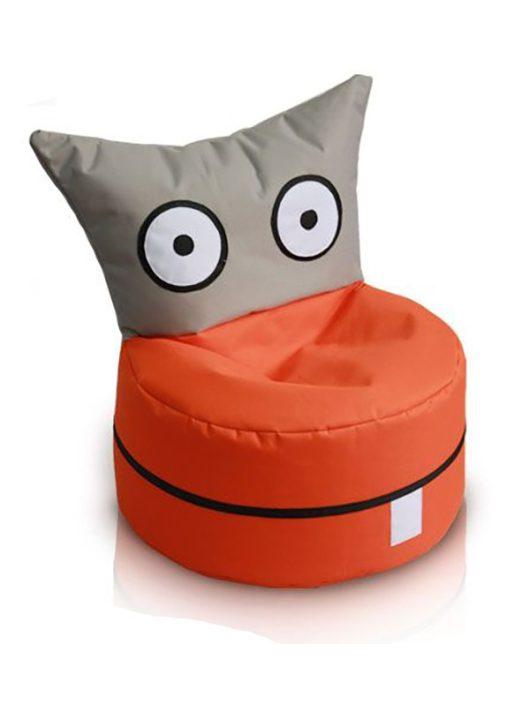 OWL detský sedací vak rozkošný tvor (sivo-oranžový)