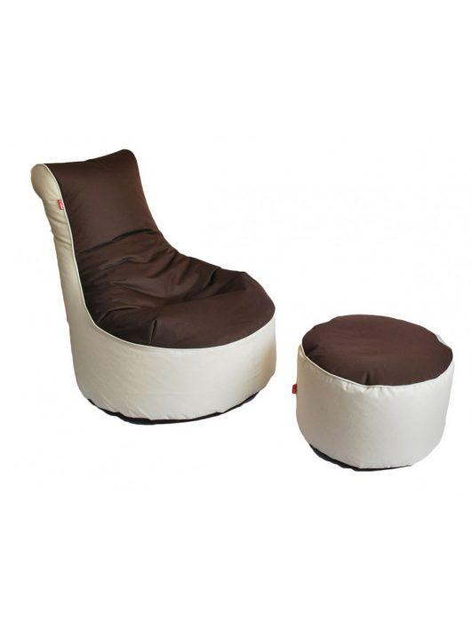 XXL  sedací vak fotel + Darček puff (hnedá - béžová))